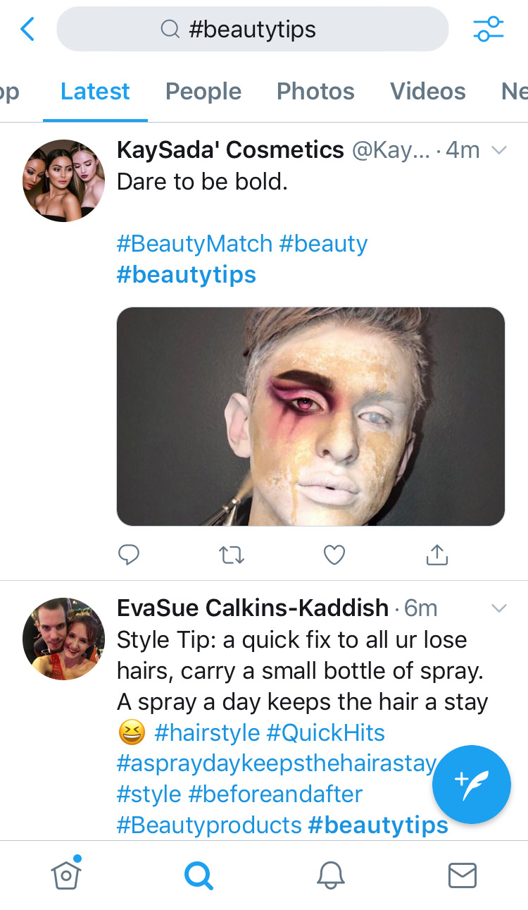 get content ideas from twitter hashtags like beautytips