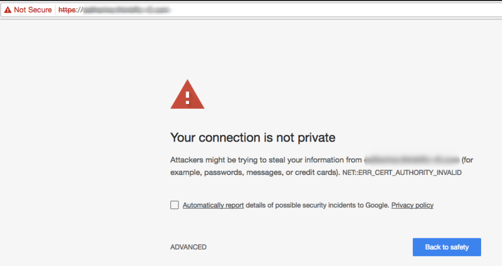 google chrome warning when you visit a website without a ssl certificate installed