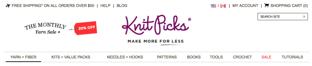 top navigation with product categories on knitpicks
