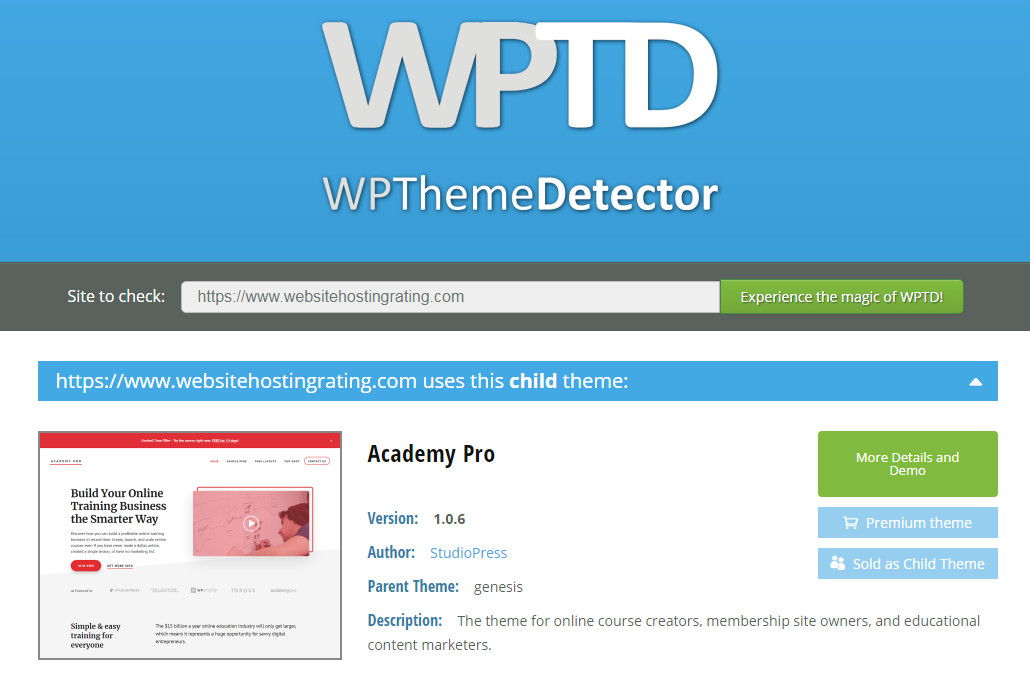 WP Theme Detector used on websitehostingrating.com
