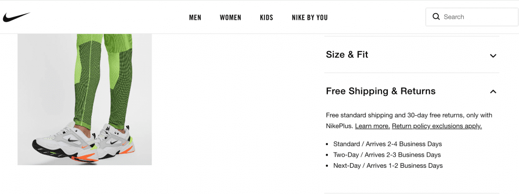 example of product page with shipping policy on nike