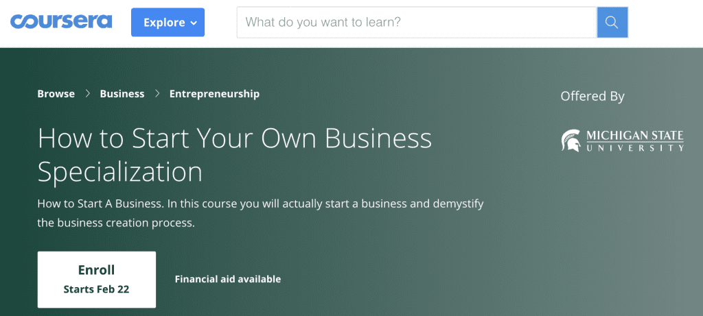 online class how to start your own business from coursera