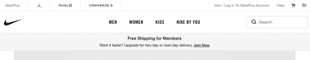 free shipping banner on top of home page for nike