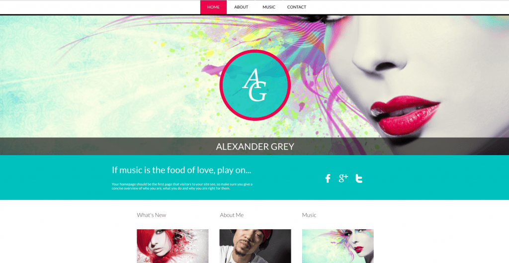 musician website builder template