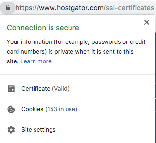 click https to view ssl security credentials of website