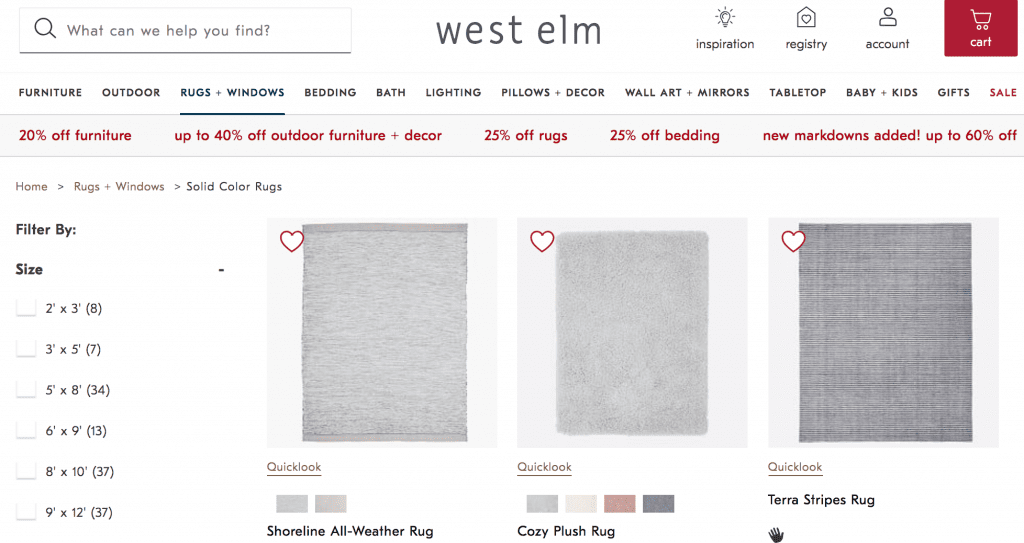 west elm wishlist heart products to add them to favorites