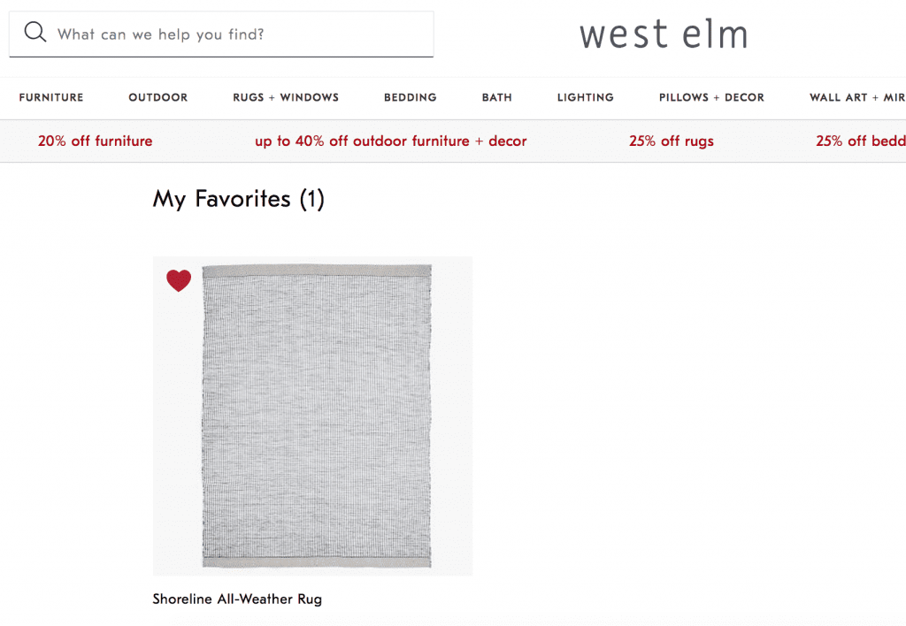 west elm favorites with wishlist items for online store