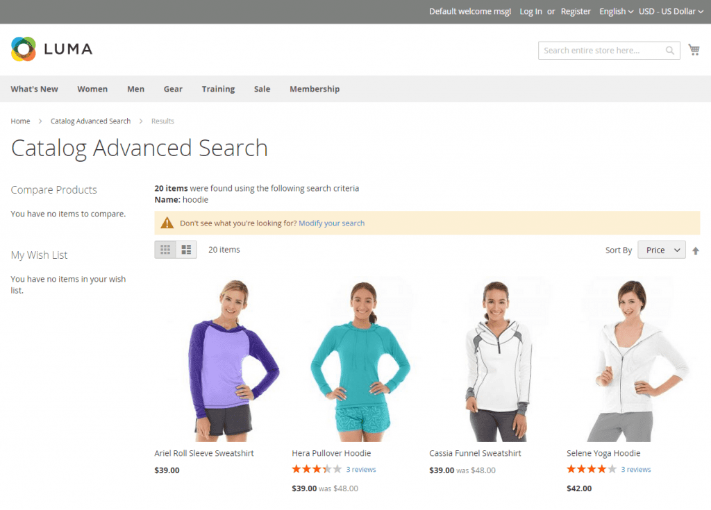 magento catalog advanced search
