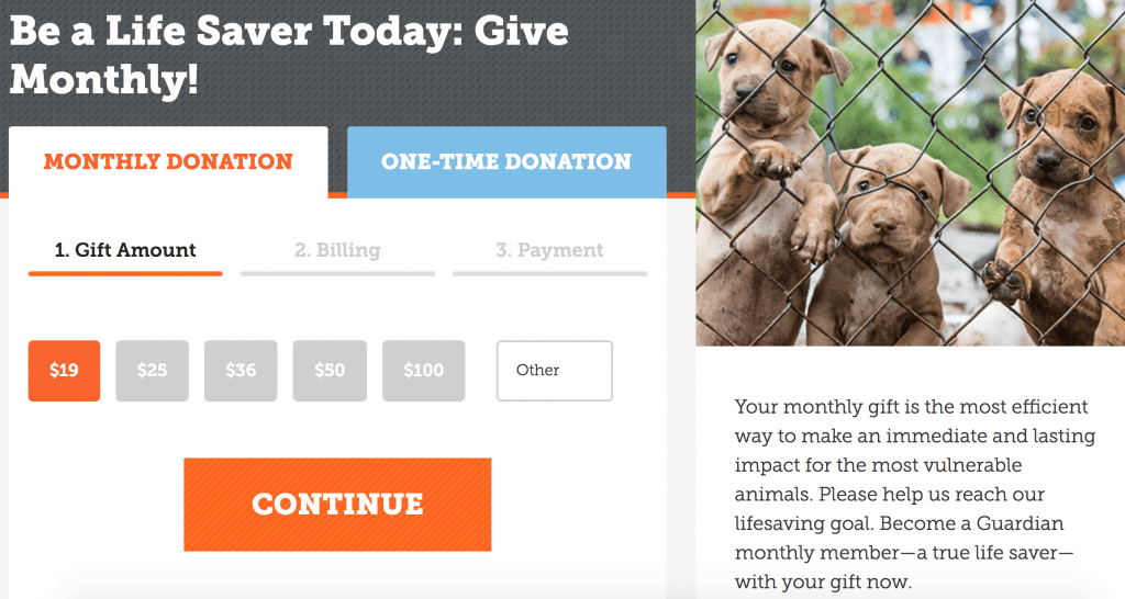example of progress bar on donation form for nonprofit website