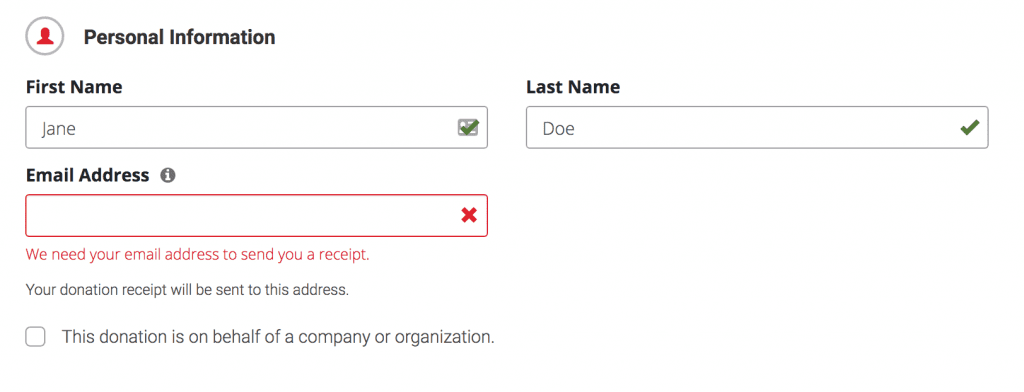 red cross donation form with field validation