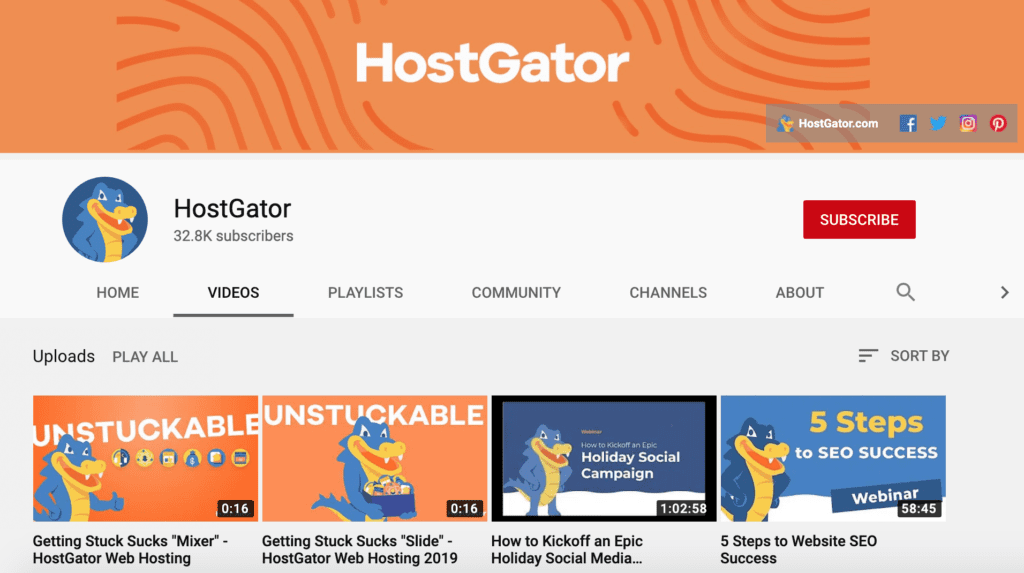 hostgator youtube channel