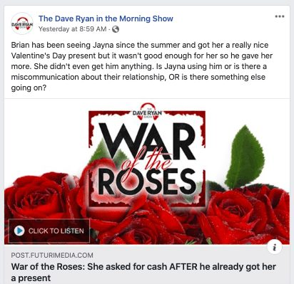 example of Dave Ryan Show Facebook post