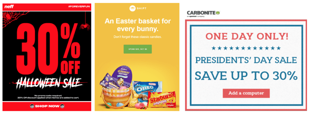 holiday email offer examples