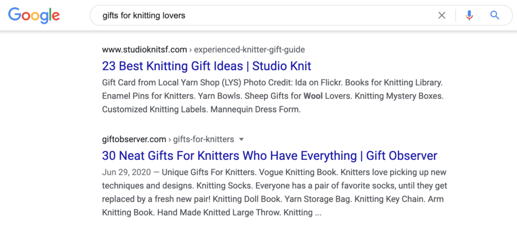 google search result for gift guides for knitting lovers
