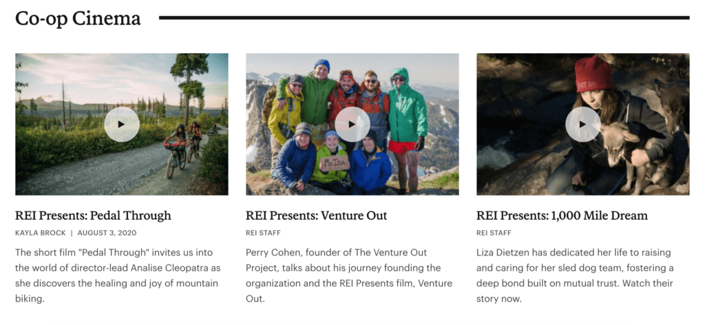video content on rei blog