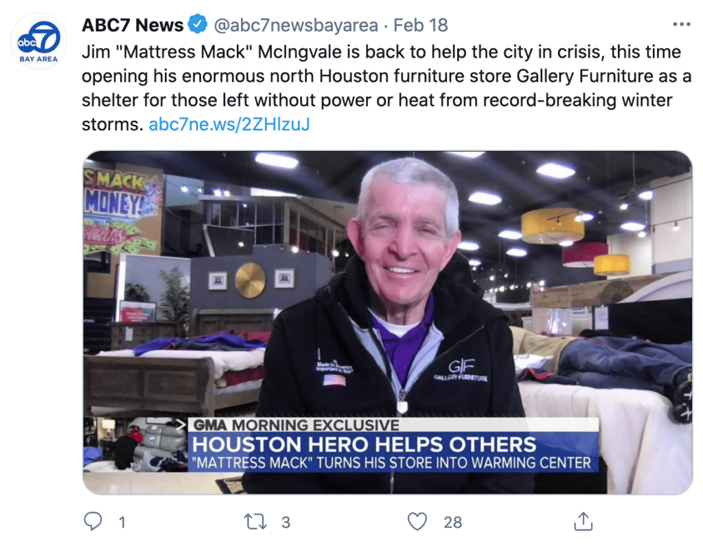 mattress mack opens furniture stores to public as warming shelters during historic freeze