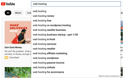 youtube autofill feature can reveal related keywords