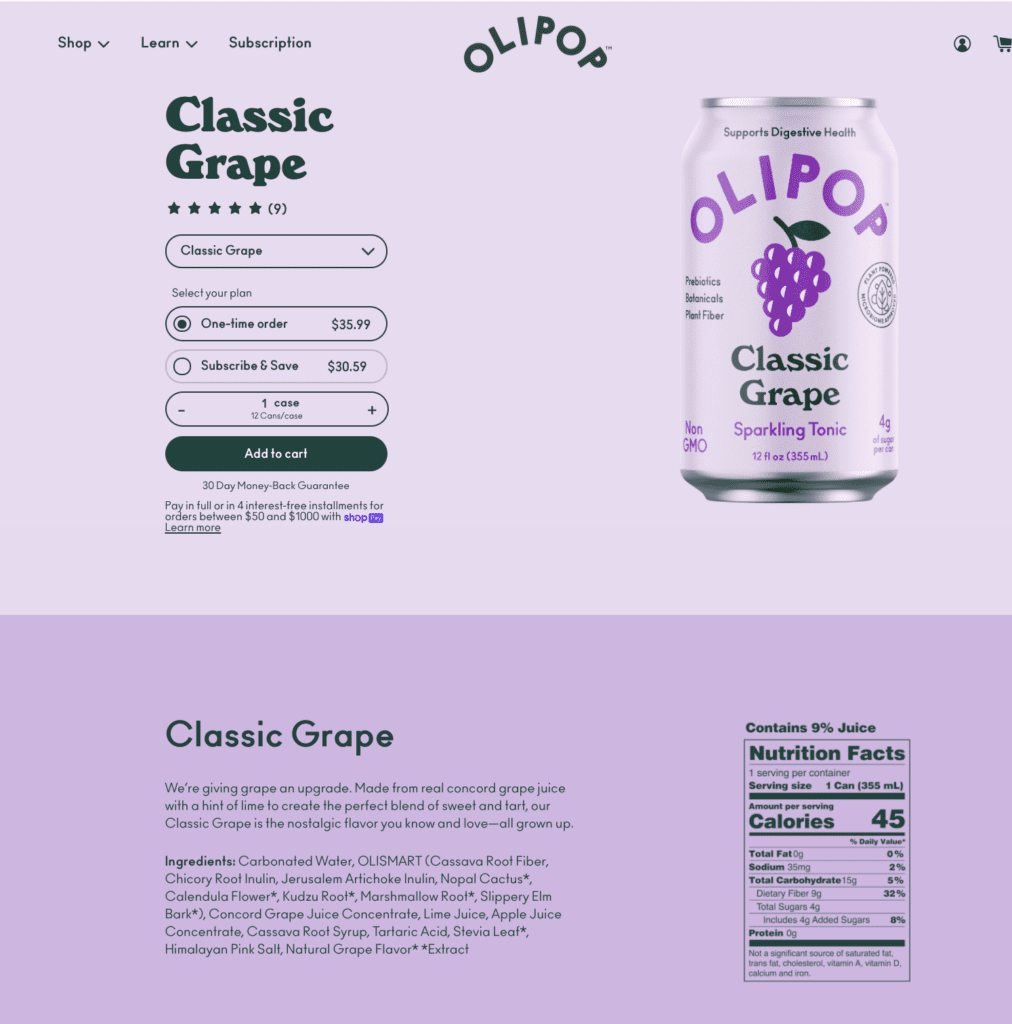 olipop product page