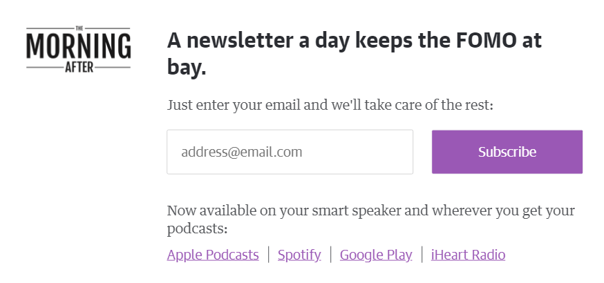 add newsletter signup above the fold on homepage