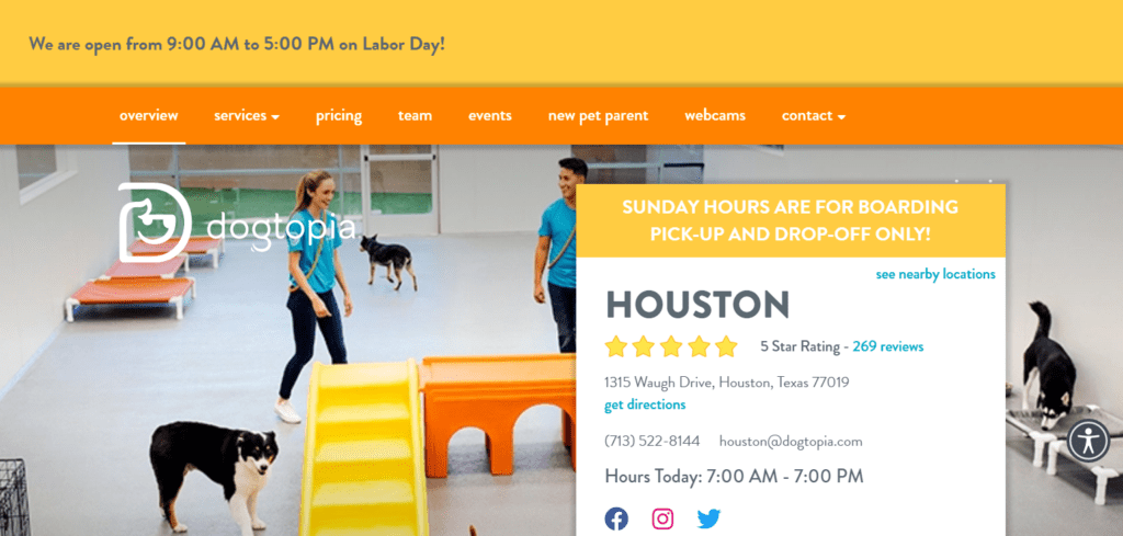 add updated local business hours to homepage